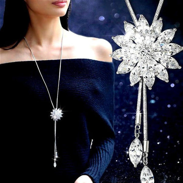 Women White Crystal Sunflower Tassel Long Necklace, Rings, Stylenol- Stylenol