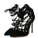 Women New Hollow Cross High Heels Booties, Boots - Stylenol