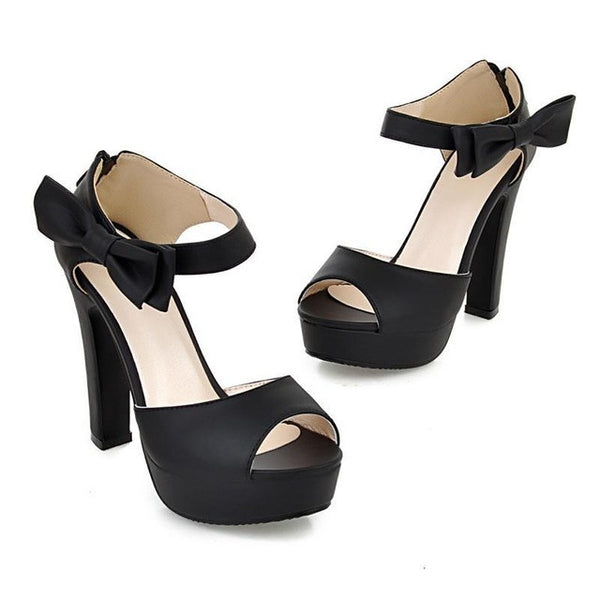 Women New Peep Toe Ankle Strap Sweet High Heel Shoes, Pump Shoes - Stylenol