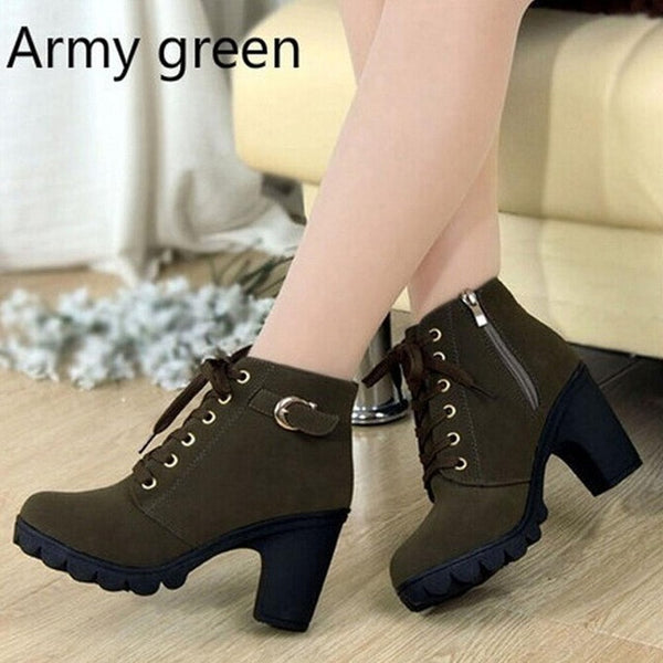 Women Leather Solid Lace-up Boots, Boots - Stylenol