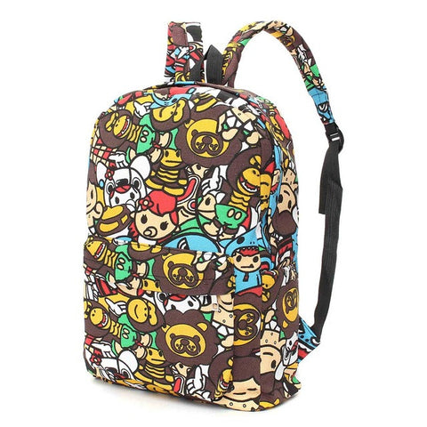 Canvas Cartoon Print Graffiti Backpack, Backpack, Stylenol- Stylenol