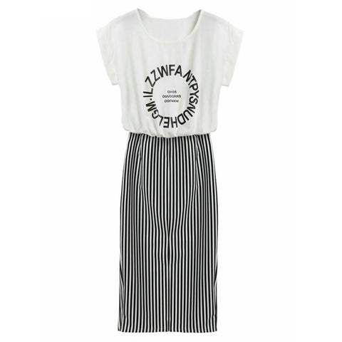 2 in 1 One-piece Letter Print Striped Short Sleeve Long Dress, Women Dress, Stylenol- Stylenol