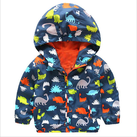 Cute Dinosaur Long Sleeve Unisex Kids Jacket, Boys Jackets, Stylenol- Stylenol