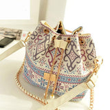 Women New Boho Canvas Chains Shoulder Handbag, Handbags - Stylenol