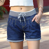 New High Waist Denim Elastic Shorts, Shorts, Stylenol- Stylenol