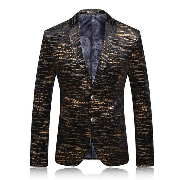 New Leopard Print Casual Full Sleeve Cotton Men Blazer, Men Blazers, Stylenol- Stylenol