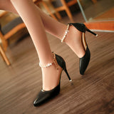 Women High Heel Pearl Pointed Toe Pumps Shoes, Pump Shoes - Stylenol