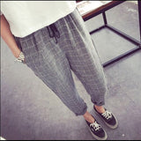 Striped Elastic Waist Cotton Loose Pants, Pants - Stylenol