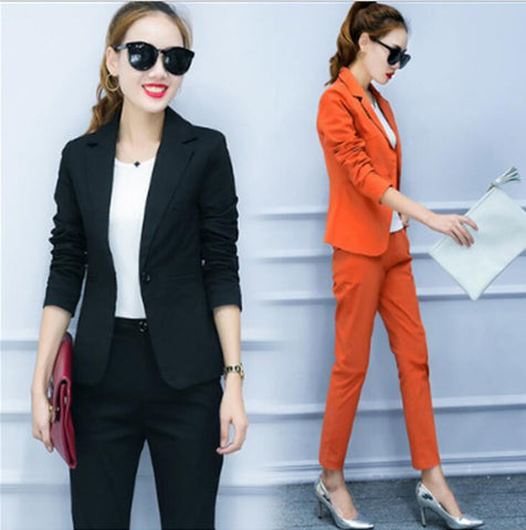 2 Pcs Blazer Jacket Skinny Pants Office Wear Suits Sets, Suits, Stylenol- Stylenol