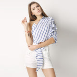Striped One Shoulder V-neck Half Puff Sleeve Shirt, Blouses - Stylenol