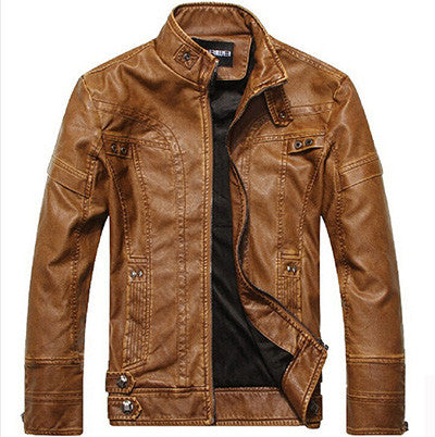 New Mandarin Collar Leather Business Casual Men Zipper Jacket, Men Jackets, Stylenol- Stylenol