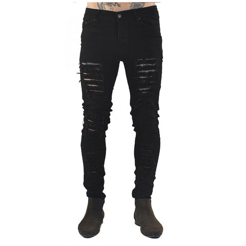 New Skinny Distressed Slim Ripped Jeans Pants, Men Pants, Stylenol- Stylenol