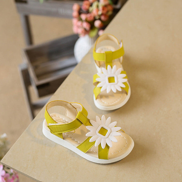 New Leather Flower Soft Baby Girls Skid Sandals, Girl Shoes, Stylenol- Stylenol