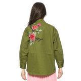 Floral Embroidery Bomber Loose Jacket, Jackets, Stylenol- Stylenol