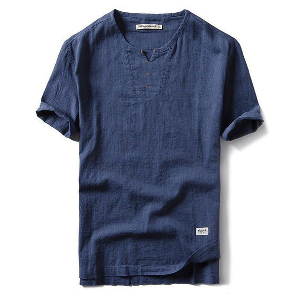 New V-Neck Short Sleeve Loose Thin Shirt, Men Shirts - Stylenol