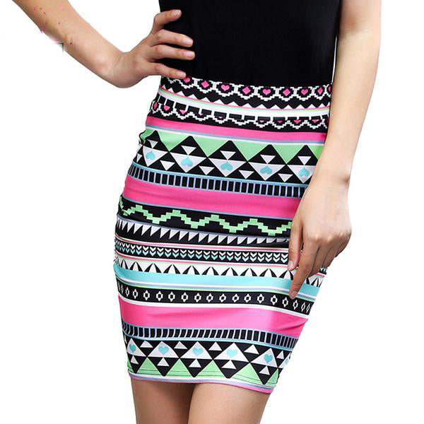 Striped Floral Vintage Slim Pencil Skirt, Skirts - Stylenol