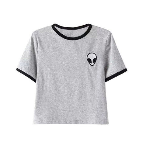 Alien Short O-Neck Sleeve Cotton Women Top T-Shirt, Women T-Shirts, Stylenol- Stylenol