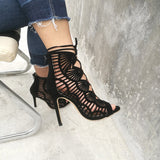 Women High Heels Cut Outs Open Toe Party Shoes, Pump Shoes - Stylenol