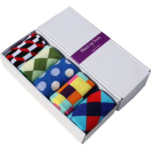 5 Pairs Men Colorful Dress Sock, Socks, Stylenol- Stylenol