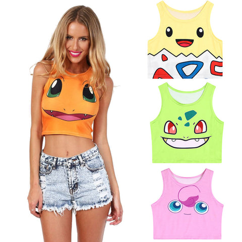 3D Cartoon Print Crop Slim Tank Top, Tops, Stylenol- Stylenol