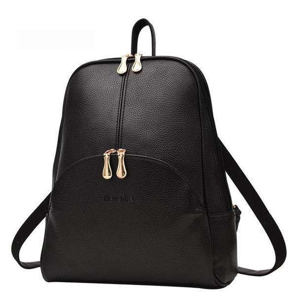 Women Leather Soft Preppy Casual Backpack, Backpack - Stylenol