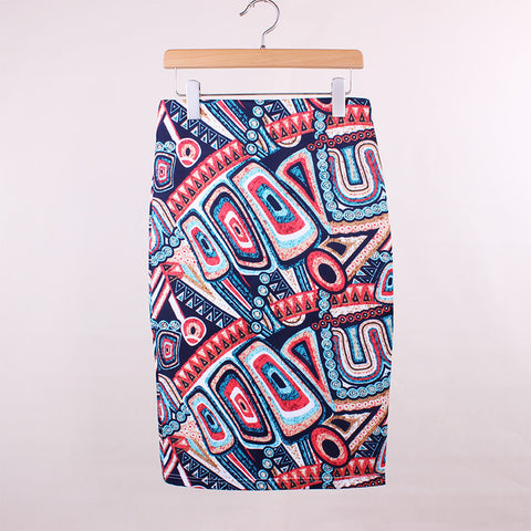 Novelty Geometric Print Slim Skirt, Skirts - Stylenol