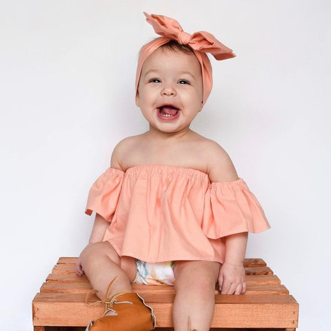 2PC Infant T shirt Off Shoulder Shirt with Bow knot Headband, , Stylenol- Stylenol