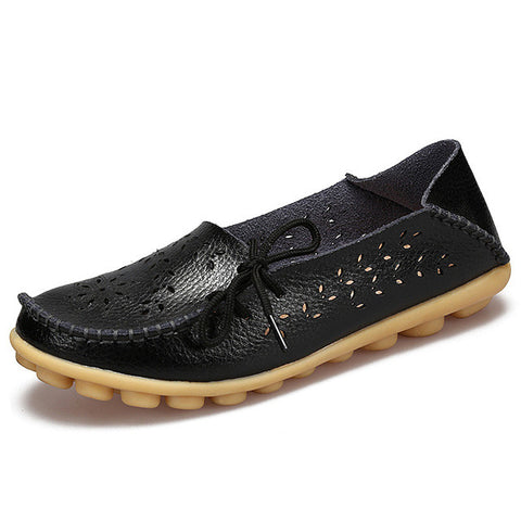 Women Leather Flat Flexible Round Toe Loafer, Women Shoes - Stylenol