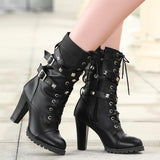 Women High Heels Zipper Rivets Boots, Boots - Stylenol