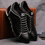 Men Leather Flat Casual Breathable Shoes, Men Shoes, Stylenol- Stylenol