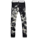 New Wolf Print Straight Stretch Slim Jeans Pants, Men Pants - Stylenol