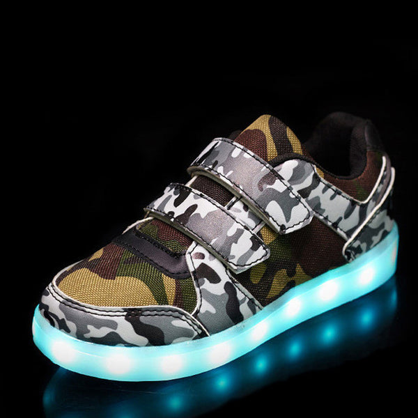 Boys USB Basket LED Light Up Luminous Sneakers, Boys Shoes, Stylenol- Stylenol
