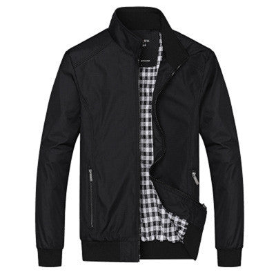 New Casual Solid Slim Fit Stand Collar Zipper Jacket, Men Jackets - Stylenol