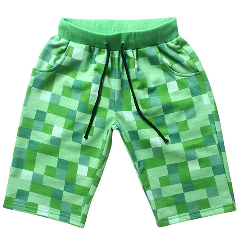 New Cotton Drawstring Plaid Cartoon Green Boys Short, Boys Shorts, Stylenol- Stylenol