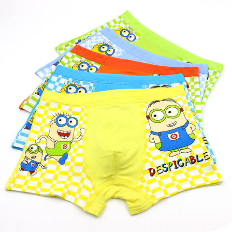 5pcs/Lot Boys Minions Short, Boys Underwear, Stylenol- Stylenol