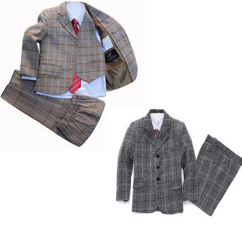 3 Pcs/set New Plaid Boys Formal Suits, Boys Suits, Stylenol- Stylenol