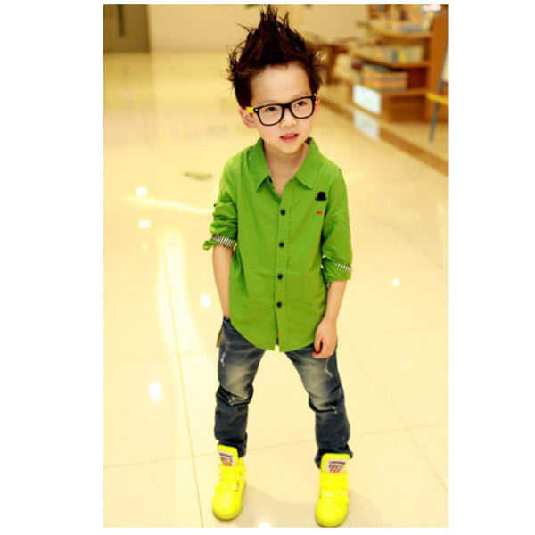 New Button Down Long Sleeve Casual Shirt, Boy Shirts, Stylenol- Stylenol