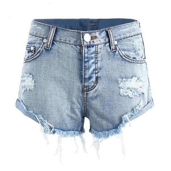 Vintage Ripped Hole Fringe Denim Shorts, Shorts - Stylenol