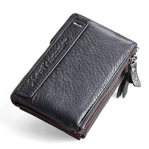 Men Genuine Leather Small Zipper Wallet, Wallet, Stylenol- Stylenol