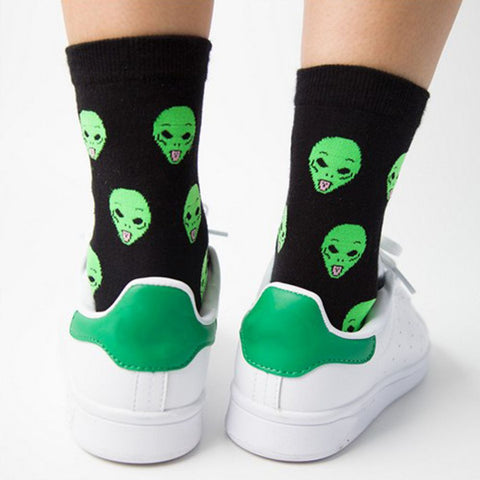 1 Pair Unisex Cartoon Cat Funny Alien Sock, Socks, Stylenol- Stylenol