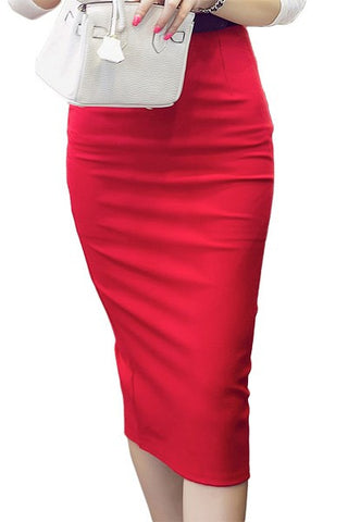 Plus Size High Waist Tight Midi Pencil Skirt, Skirts - Stylenol