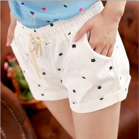 High Waist Elastic Cotton Shorts With Cats Pattern, Shorts, Stylenol- Stylenol