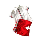 New Cotton Turn Down Collar Boys Sport Shirt Short Set, Sets, Stylenol- Stylenol
