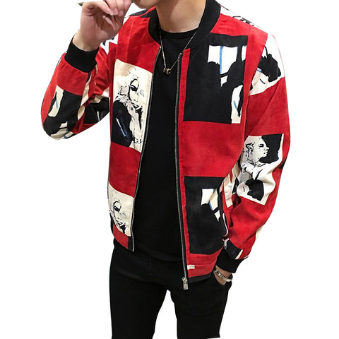 Men O-Neck Hip Hop Slim Polyester Zipper O-Neck Jacket, Men Jackets, Stylenol- Stylenol