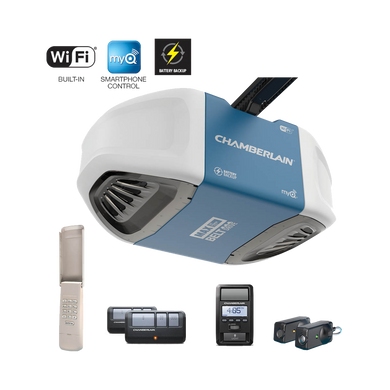 Chamberlain 1 1/4 HP Whisper Drive Belt Drive Garage Door Opener with Built-in WiFi and Battery Back-Up