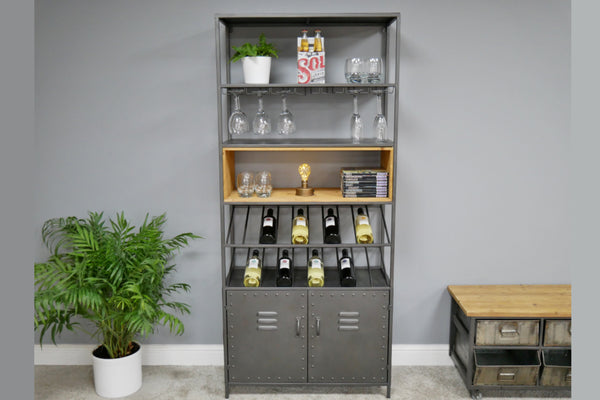 Retro Industrial Wine Cabinet