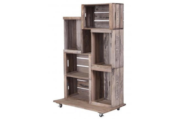 Rustic Apple Crate Display Unit On Wheel