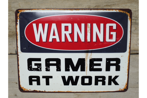 Warning Gamer At Work Sign - White / Black / Red