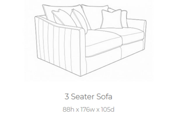 Bardot 3 Seater Sofa - Available In Different Colours
