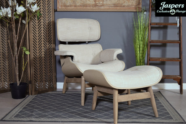 Chair With Footstool - Beige / Natural / Wood